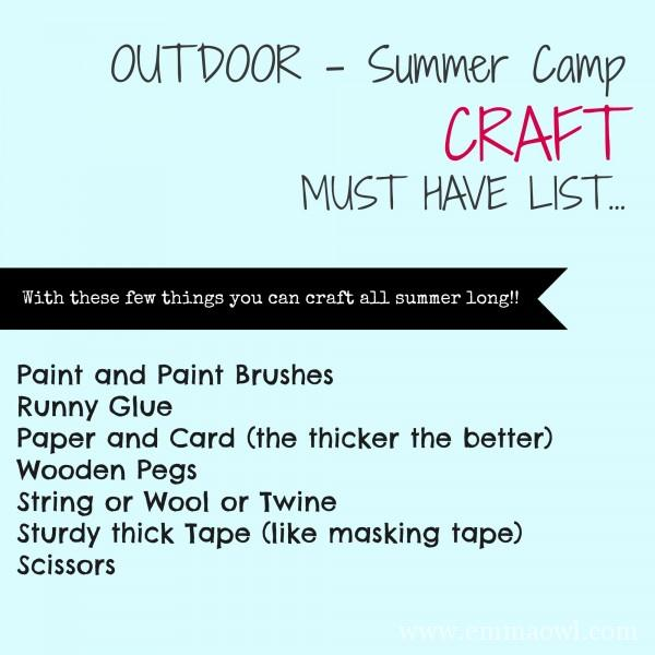 Outdoor Summer Camp Craft List