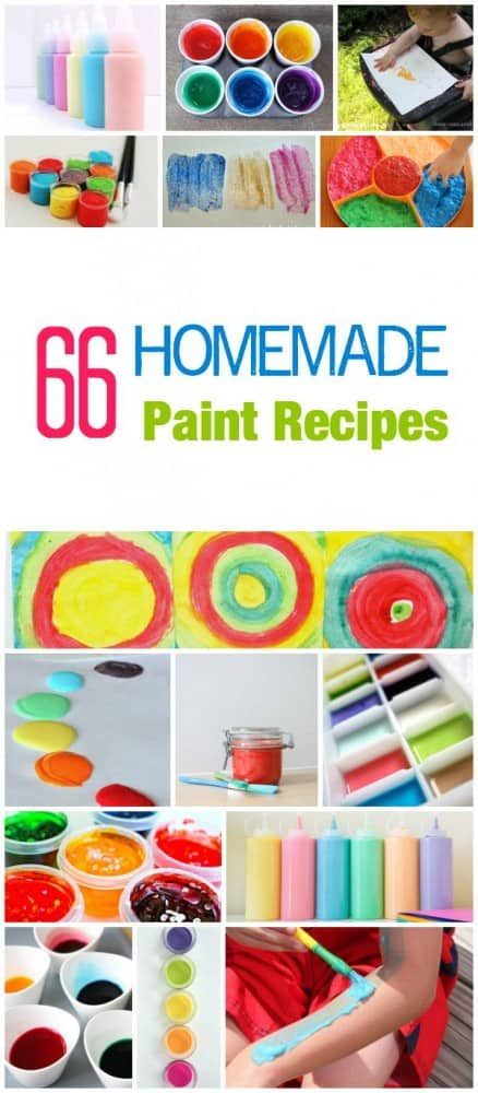 66 Incredible Homemade Paint recipes for any day - bath - sensory - fun - edible - outside - window - science - body and face. It is all here for a total painting experience
