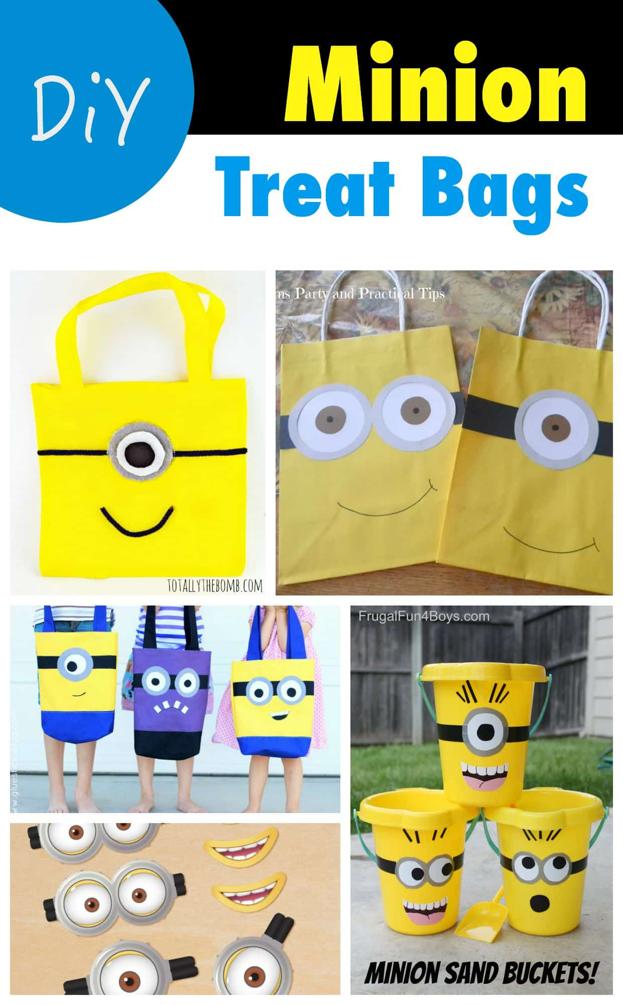 DiY Minion Treat Bags - for Halloween Trick or Treating! Full instructions and links to all tutorials included
