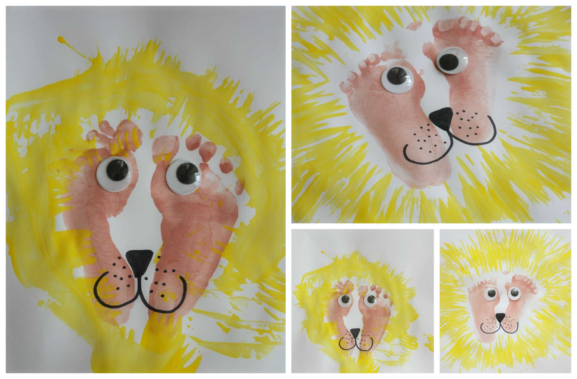Kids art lion painting with footprints and forks for Lion crafts for toddlers