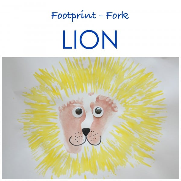Footprint and Fork Lion. Great little kids craft