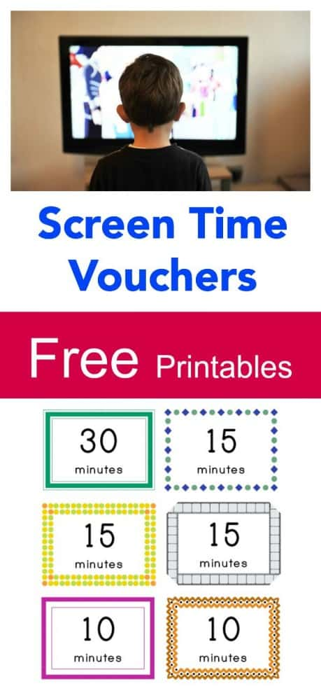 Free Printable Screen Time Vouchers. How to balance screen time with exercise