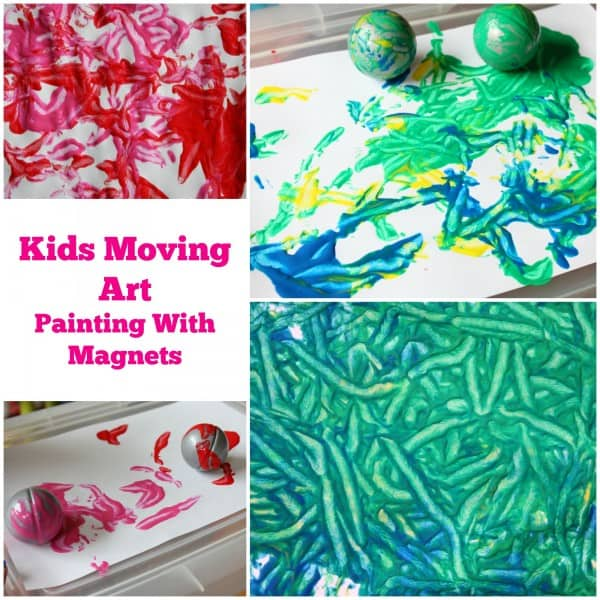 Kids Moving Art. Painting with Magnets.