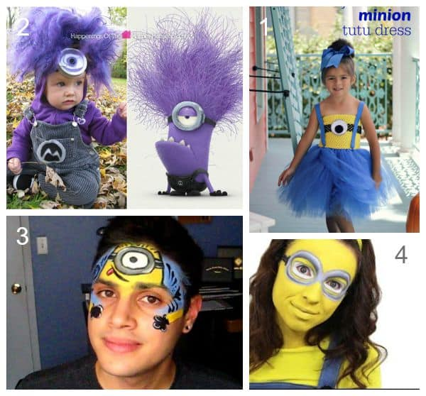 Minion Costumes - including face painting video tutorials and girls tutu minion dress