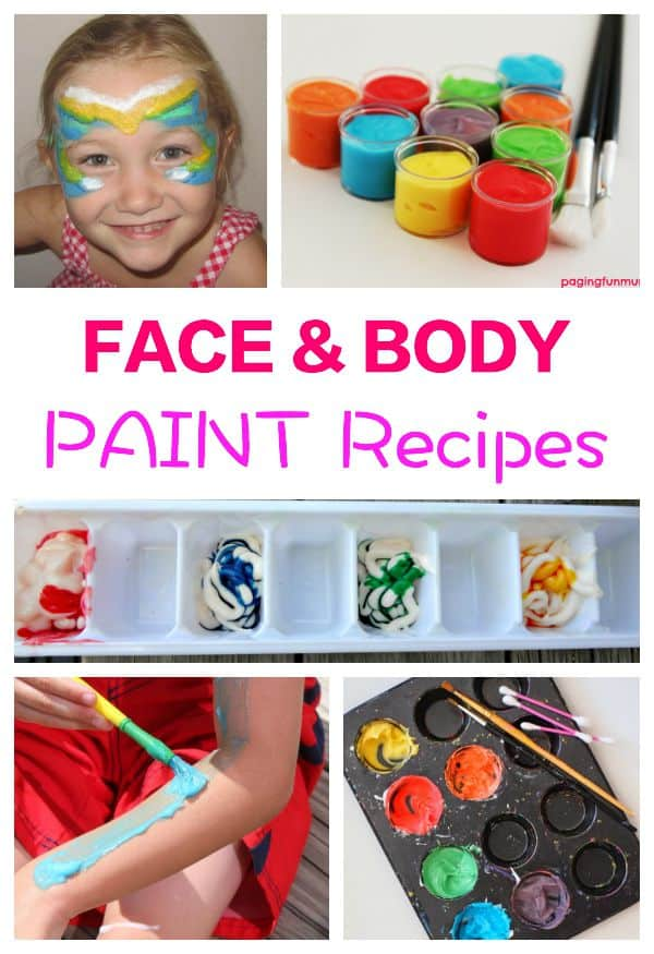 Skin friendly - and washable, these face and body paint recipes are fun fun fun