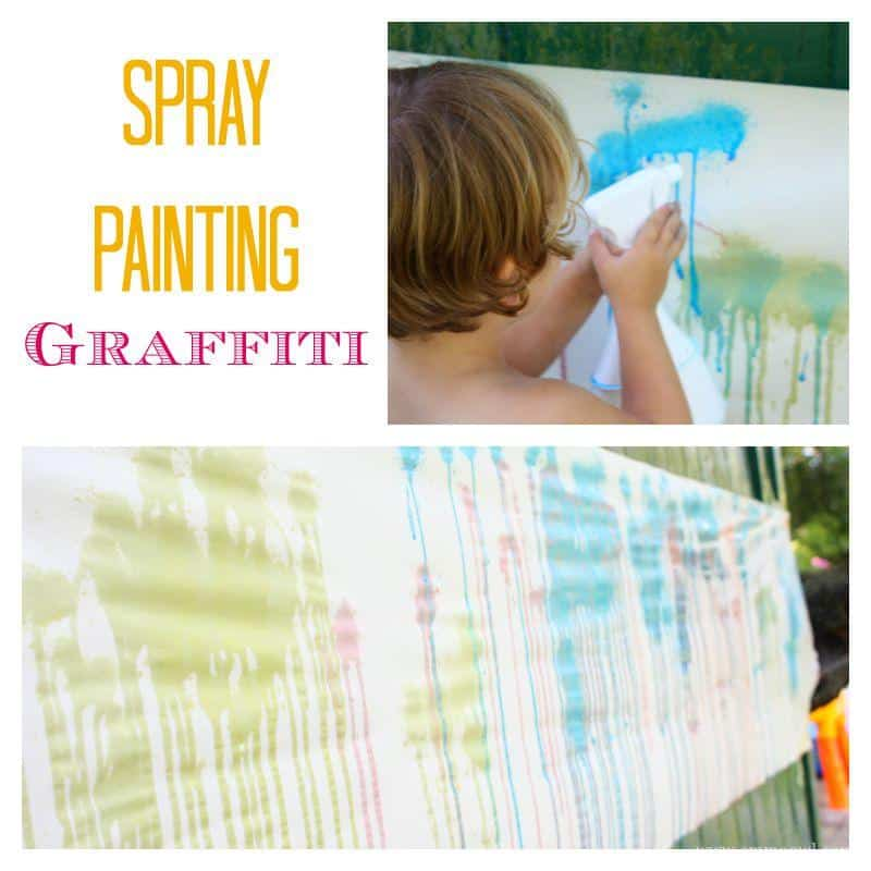 Spray Painting Graffiti. Fantastic summer Activity - What Fun!
