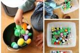 Toddler Fine Motor Play: Pom Pom Bins
