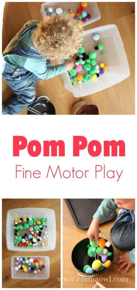 Pom Pom Fine Motor Play for Toddler and Preschool. Perfect integration of learning - imaginative play - and FUN !