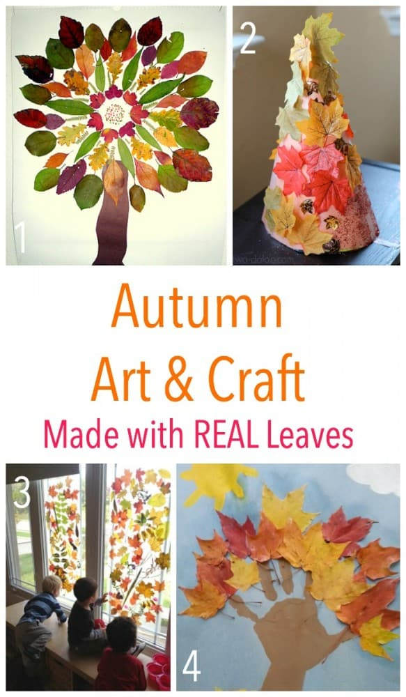 Kids Autumn Art and Craft Ideas - made using real leaves!