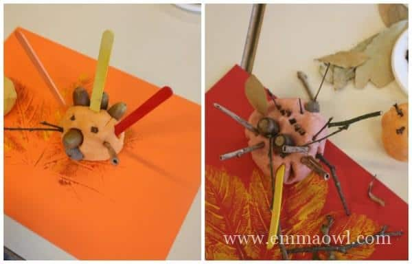 adult made items at childs autumn sensory table