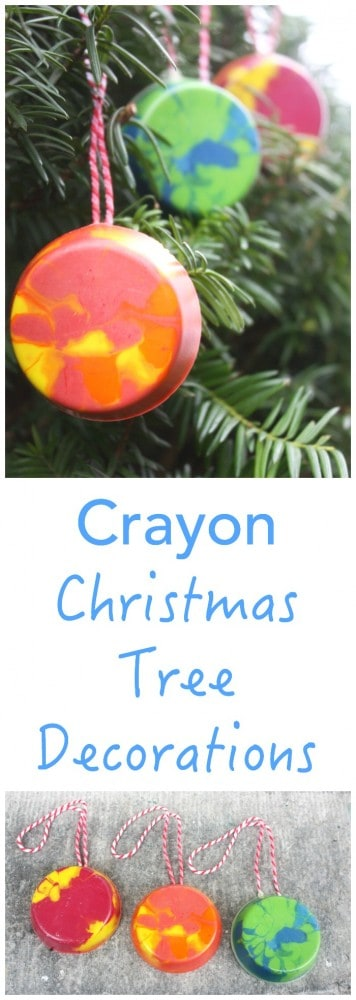 Make your own Christmas Tree Decorations - with Crayons! The perfect ornament and gift in one! Easy to make - perfect kids craft project