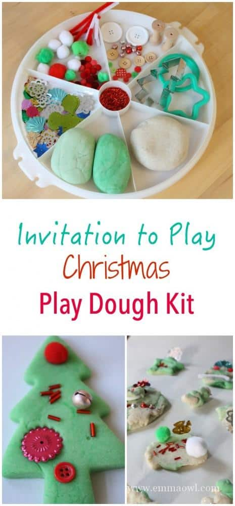 Christmas Themed Invitation to Play - featuring peppermint play dough, snow dough and lots of sparkles!! The perfect play, creative and sensory kids activity in one!