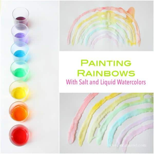 Painting Rainbows with Salt and Liquid Watercolors