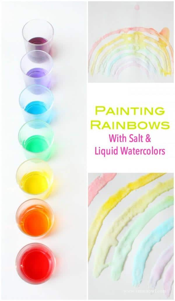 Salt Painting is a fun interesting painting technique - and these rainbows will bring color to any Kids craft project!