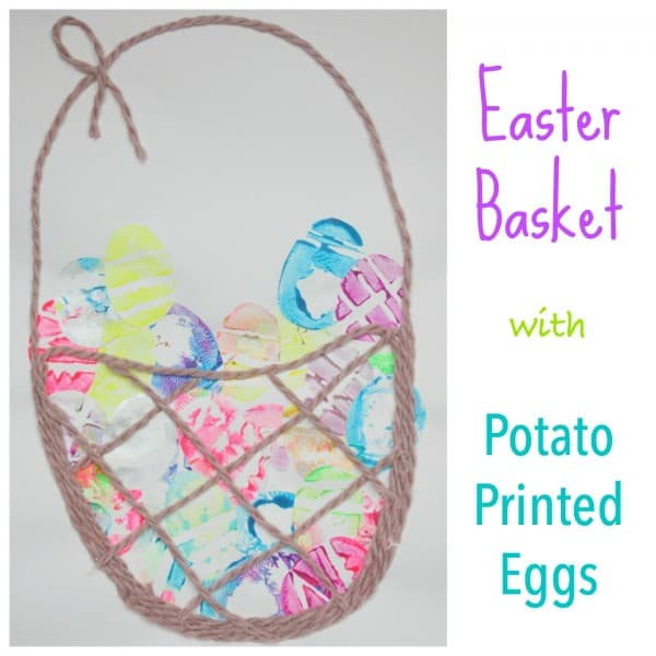 Easter Basket with Potato Printed Eggs