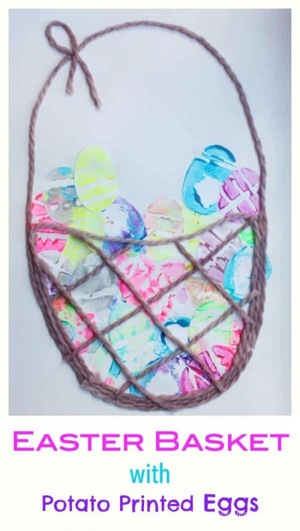 Easter Basket with Potato Printed Eggs. This is such a beautiful Easter Craft for Kids - and is so much fun to do!