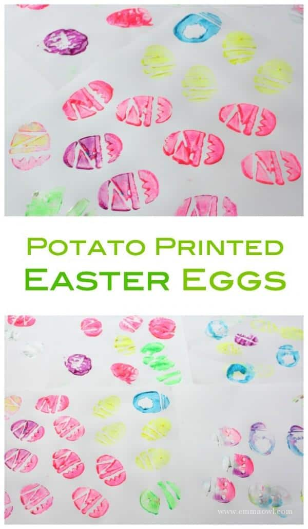 Potato Printed Easter Eggs are a fantastic easy to set up craft project for Kids