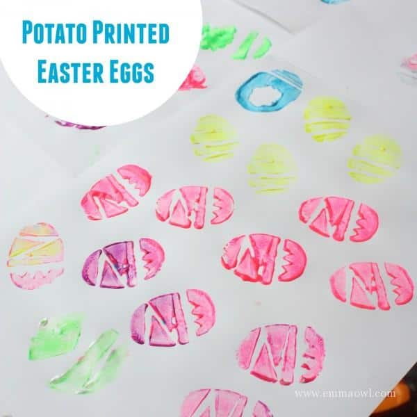 Potato Printed easter Eggs - such an easy printing idea