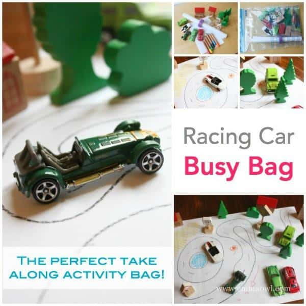 Racing Car Busy Bag - for table or floor quiet time!