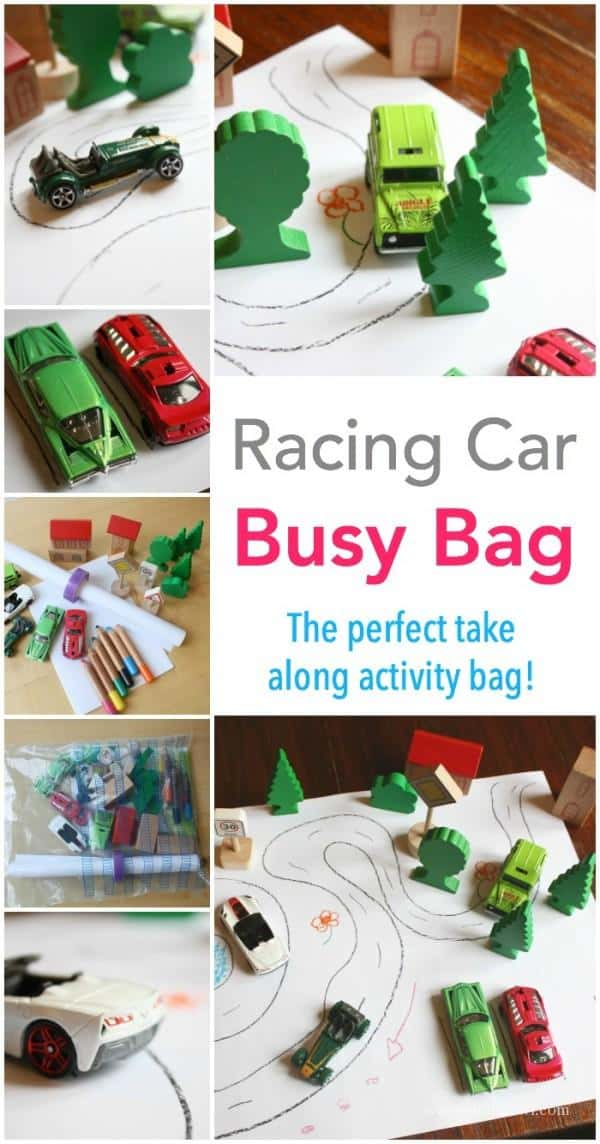 Racing Car Busy Bag - packs into a small bag and is perfectly travel friendly! The perfect activity for restaurant and air plane seats!