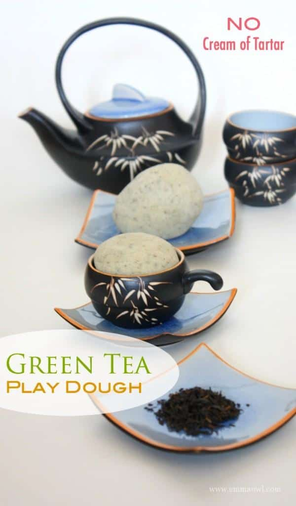 Simple and Easy to make recipe - No cream of tartar needed! Green Tea Play Dough! Kids will love this homemade recipe!