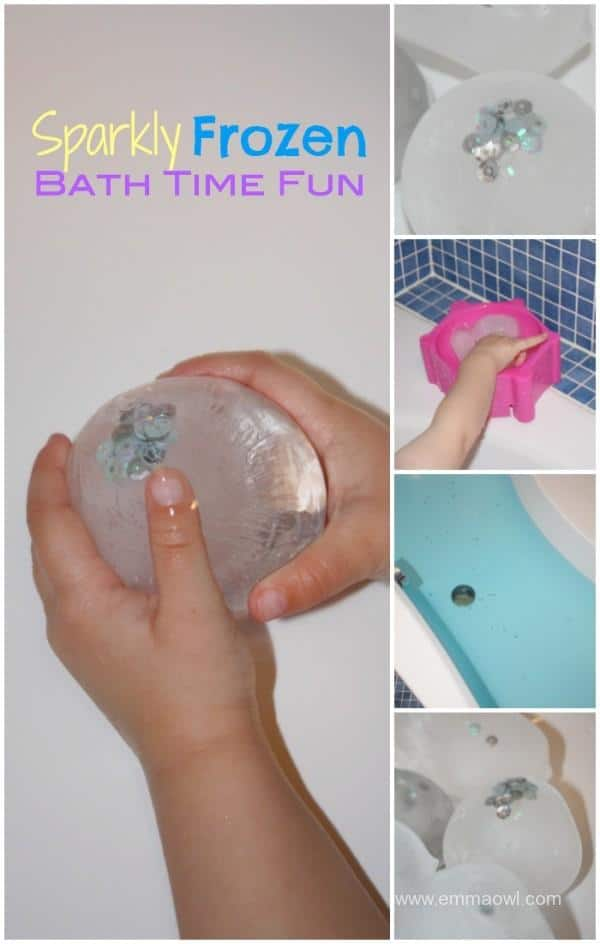 Sparkly Frozen Bath Time Fun - great idea to add a little sparkle and play in the bath - themed to Frozen - this is just as big a hit as the movie!