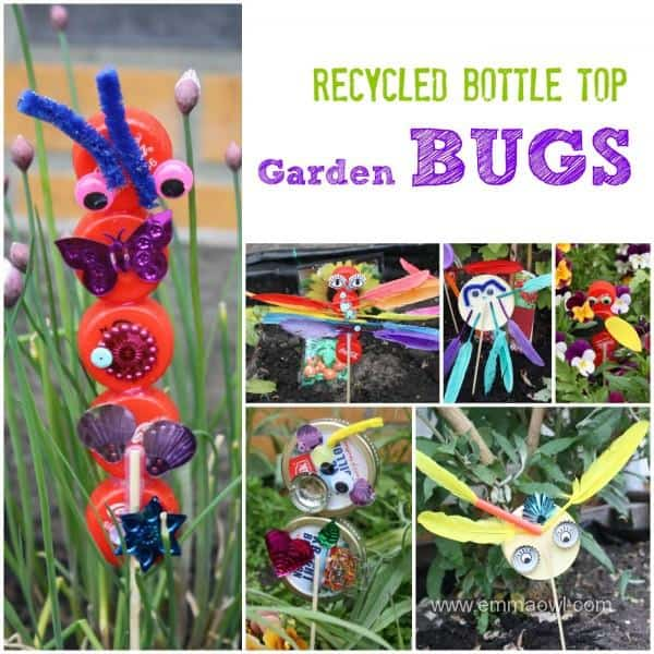 Recycled bottle top bugs