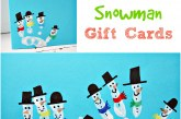 Kids Hand Print Snowman Christmas Card