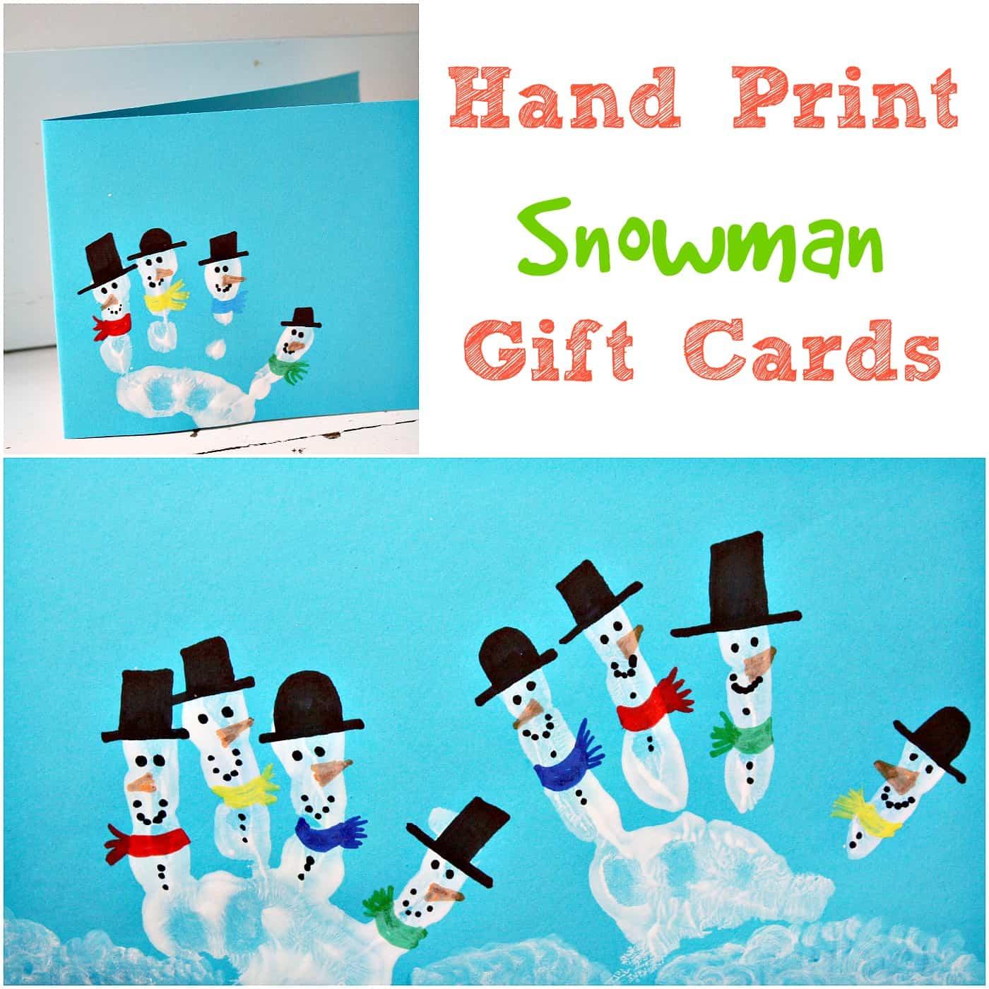 Kids Hand Print Snowman Christmas Card - Emma Owl