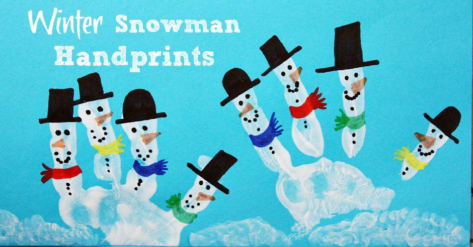Kids Hand Print Snowman Christmas Card Emma Owl