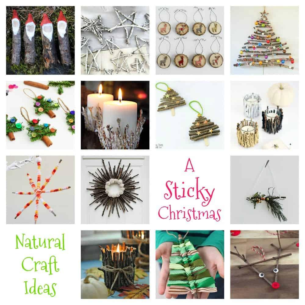 Kids Natural Sticky Christmas Crafts - Emma Owl